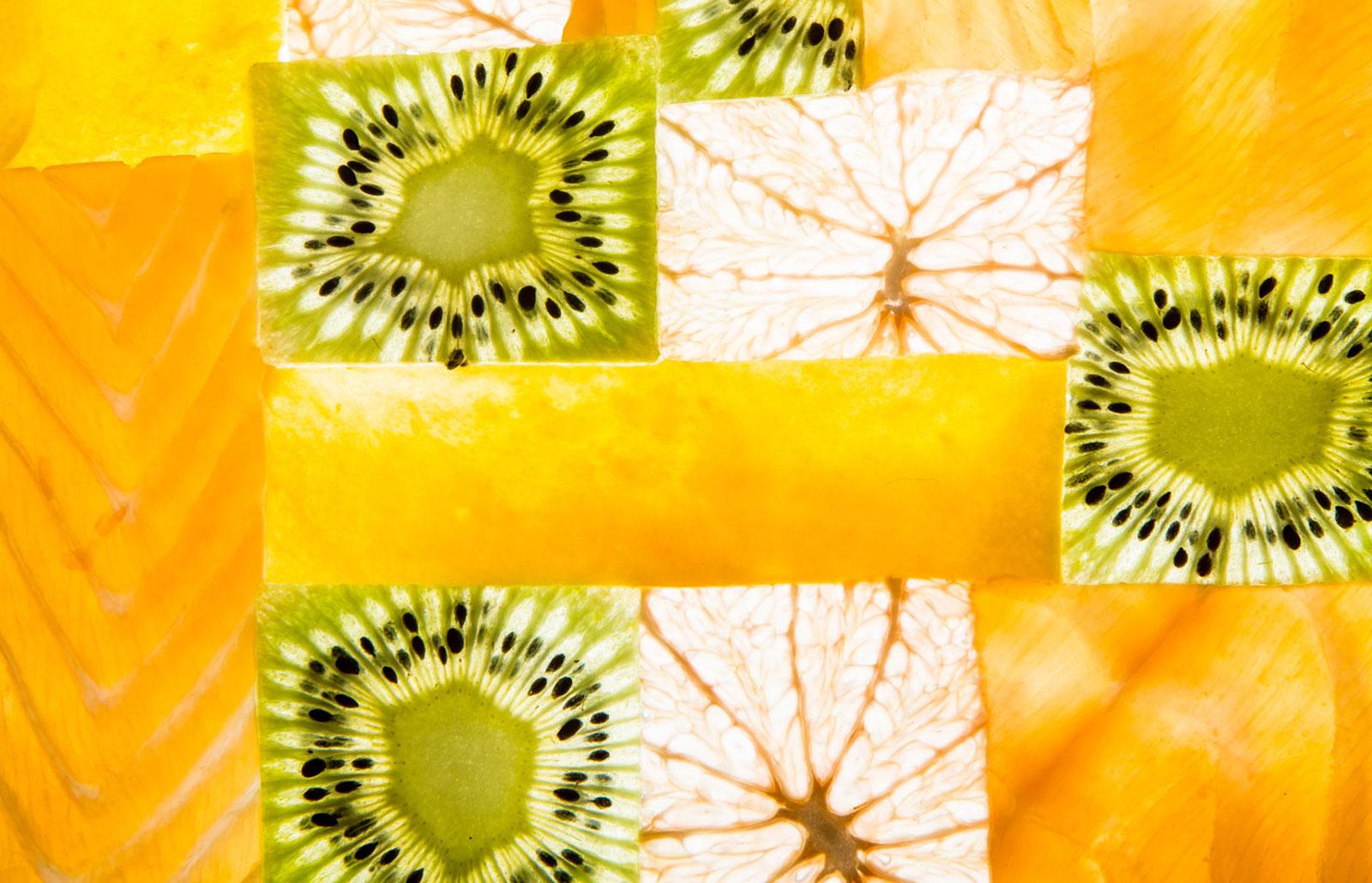 Salade patchword Kiwi de l'Adour, mangue, saumon fumé