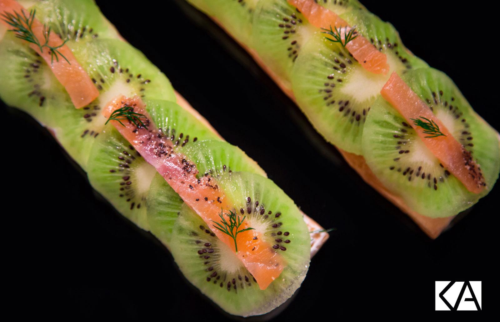 Recette tartines truite fumée et Kiwi de l'Adour