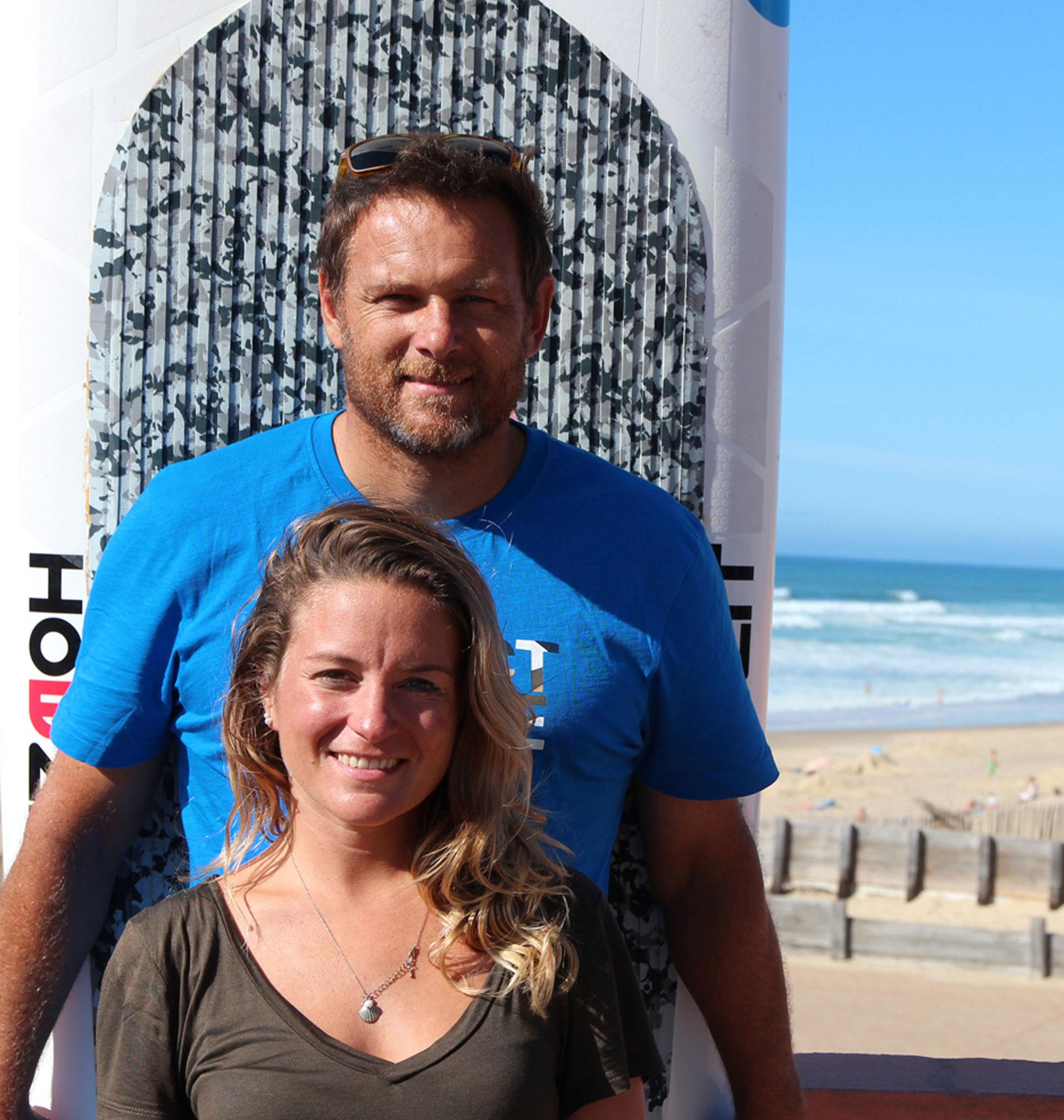 Surf tandem à Lacanau avec Sarah et Rico