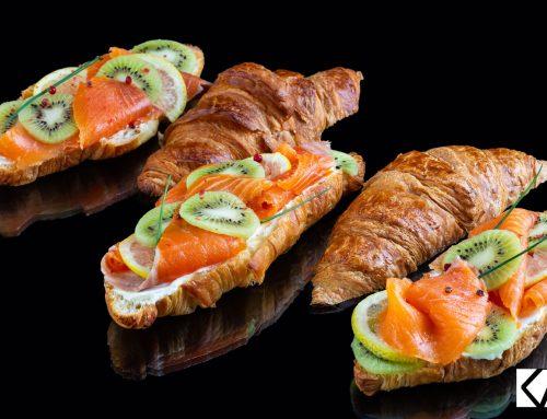 Recette de croissants croustillants au saumon et Kiwi de l'Adour