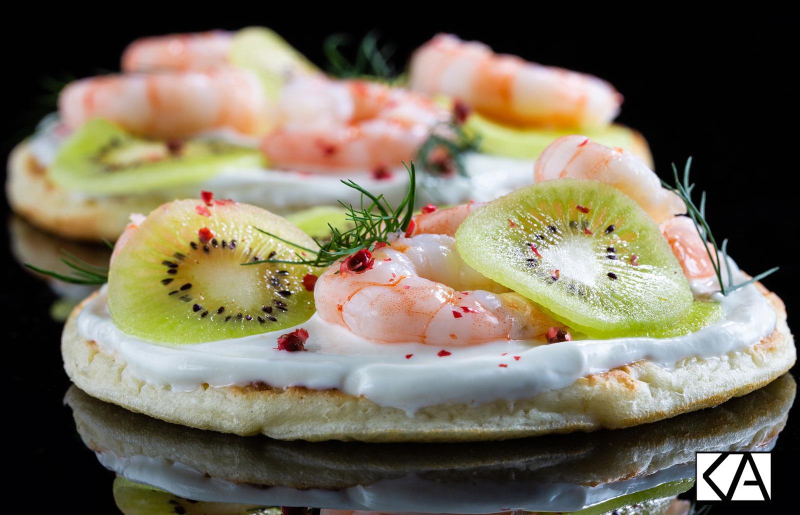 Recettes de blinis crevettes - Kiwi de l'Adour