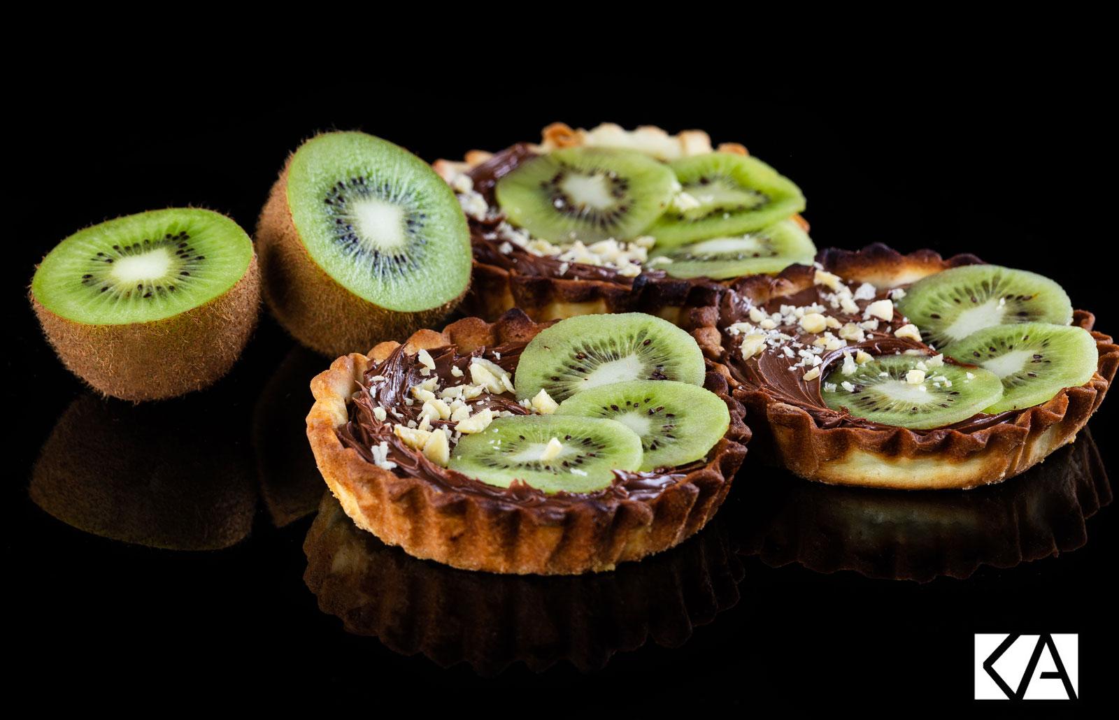 Recette de petites tartelettes chocolat-noisette et Kiwi de l'Adour